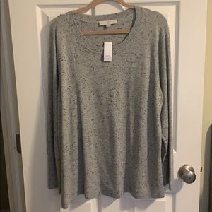 Plus Loft Gray Speckled Sweater NWT